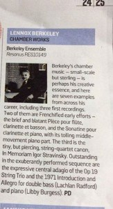Berkeley Ensemble Sunday Times review
